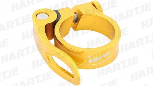 """CONTEC Sattelklemmschelle """"SC-303 QR Select""""; SB-verpackt, Aluminium, Ø 34,9mm; Mit Schnellspanner, 15mm hoch, Heart of gold"""
