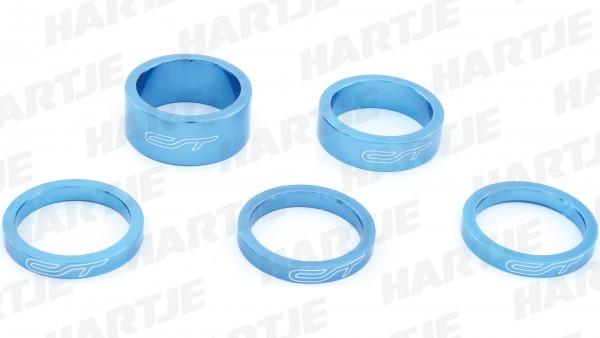 "CONTEC Spacer-Set ""Select""; SB-verpackt, mit 5 Aluminium Spacern, für 1 1/8""; 3x 5 mm, 1x 10 mm, 1x 15 mm, Blue steel"