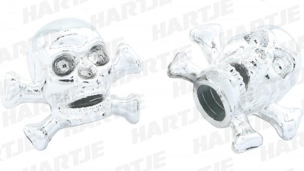 CONTEC Ventilkappe; SB-verpackt, für Schraderventil; Paarweise, Skull & Bones, Kunststoff, chrom