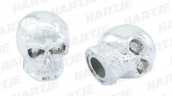 CONTEC Ventilkappe; SB-verpackt, für Schraderventil; Paarweise, Skull, Kunststoff, chrom