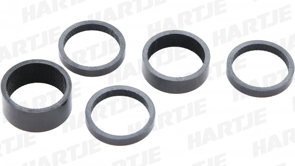 "CONTEC Spacer-Set ""Carbon""; SB-verpackt, mit 5 Spacern, 100% Vollcarbon im UD-Finish; 3x 5mm, 1x 10mm, 1x 15mm, 1 1/8"""