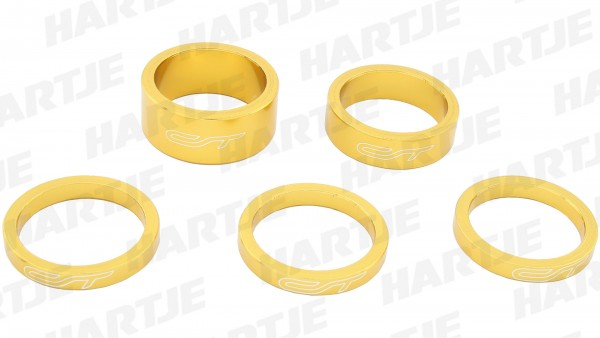 "CONTEC Spacer-Set ""Select""; SB-verpackt, mit 5 Aluminium Spacern, für 1 1/8""; 3x 5 mm, 1x 10 mm, 1x 15 mm, Heart of gold"