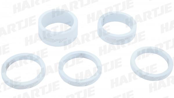 "CONTEC Spacer-Set ""Select""; SB-verpackt, mit 5 Aluminium Spacern, für 1 1/8""; 3x 5 mm, 1x 10 mm, 1x 15 mm, Honky white"