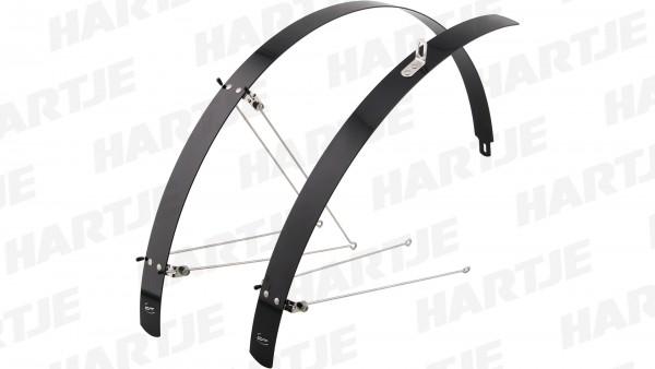 """CONTEC Schutzblechgarnitur """"Flat Fender""""; Aluminium; SB-verpackt, extrem stabil, gradlinig und flach, inkl. Streben, 28"""", 42mm breit, schwarz"""