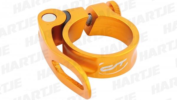 """CONTEC Sattelklemmschelle """"SC-303 QR Select""""; SB-verpackt, Aluminium, Ø 34,9mm; Mit Schnellspanner, 15mm hoch, Odd orange"""