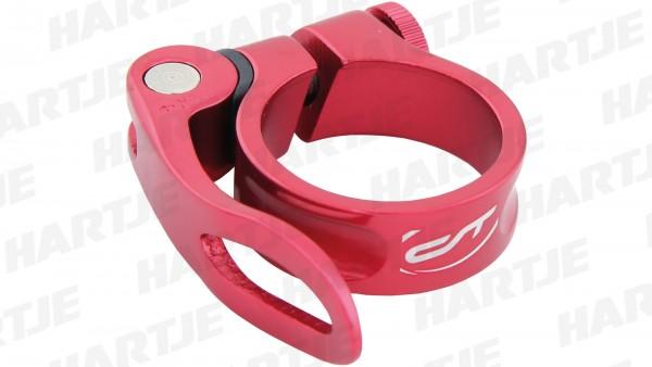 "CONTEC Sattelklemmschelle ""SC-303 QR Select""; SB-verpackt, Aluminium, Ø 34,9mm; Mit Schnellspanner, 15mm hoch, Riot red"