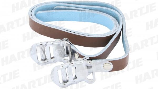 "CONTEC Pedalriemen ""Leather Strap""; SB-verpackt, Leder; Paar, 13 x 450mm, 44g/Paar, braun"
