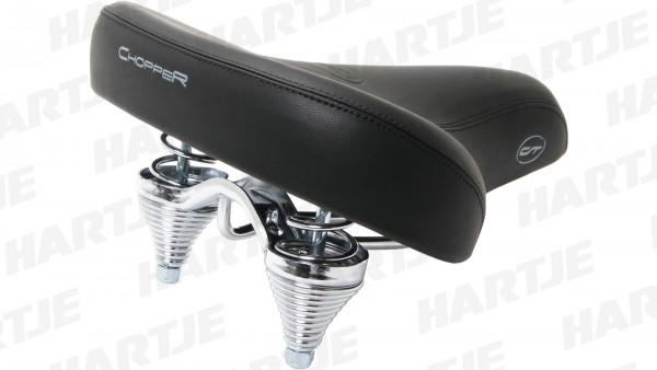 """CONTEC Sattel """"Chopper""""; SB-verpackt, Gel, verchromte Zug- und Druckfedern, L260xB255mm, schwarz; City / Cruiser, Stahl-Gestell, sehr breite Sitzfläch"""