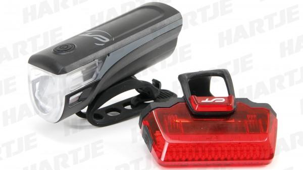 """CONTEC Akku-LED-Leuchtenset """"Speed-LED USB""""; SB-verpackt, 20Lux, USB, mit deutschem Prüfzeichen; Bestehend aus LED-Scheinwerfer und LED-Rücklicht, ink"""