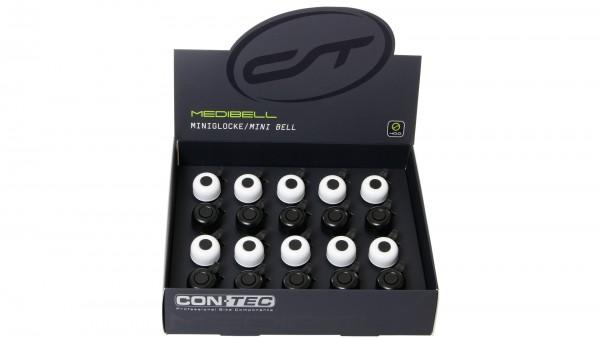 "CONTEC Miniglocke ""Mini Bell""; SB-verpackt, Aluminium, Ø 33mm, passend für Lenker-Ø 22,2mm, Display à 20 Stück, 10x schwarz / 10x weiß"