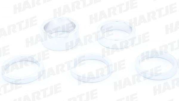 "CONTEC Spacer-Set; SB-verpackt, mit 5 Aluminium Spacern; 3x 5mm, 1x 10mm, 1x 15mm, 1 1/8"", silber"