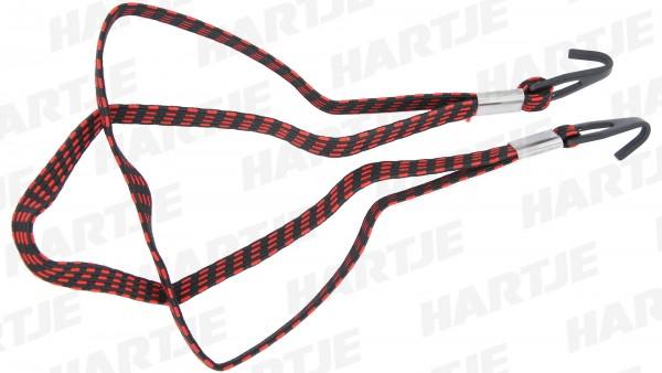 "CONTEC Spanngurt ""String Deluxe""; SB-verpackt, 2-fach, 580mm lang, extra starker Haken, schwarz / rot"