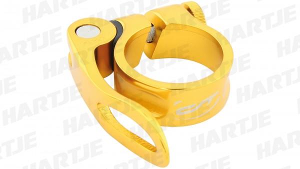 """CONTEC Sattelklemmschelle """"SC-303 QR Select""""; SB-verpackt, Aluminium, Ø 31,8mm; Mit Schnellspanner, 15mm hoch, Heart of gold"""