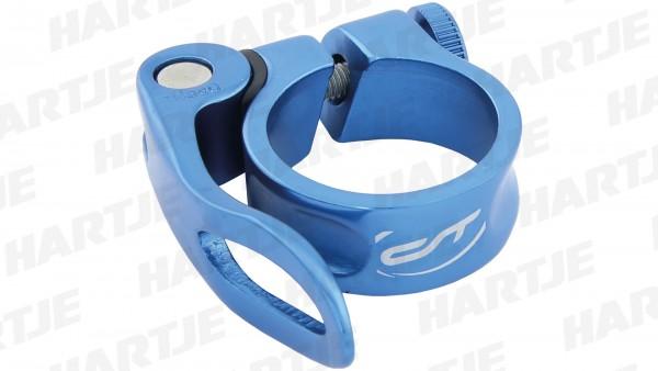 "CONTEC Sattelklemmschelle ""SC-303 QR Select""; SB-verpackt, Aluminium, Ø 31,8mm; Mit Schnellspanner, 15mm hoch, Blue steel"