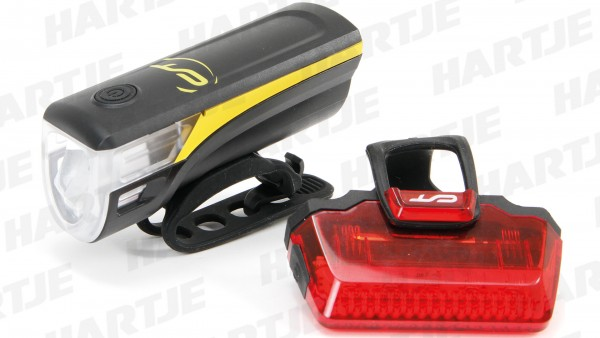 """CONTEC Batterie-LED-Leuchtenset """"Speed-LED""""; SB-verpackt, 20Lux, mit deutschem Prüfzeichen; Bestehend aus LED-Scheinwerfer und LED-Rücklicht, inkl. 5x"""