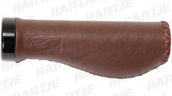 """CONTEC Griff """"Ergo Exclusiv +""""; SB-verpackt, 135mm, Echtleder, D3-Dreikomponenten, Lenkerklemmung, Paar; Mittel - im vorderen Teil, um den Fingern ein"""