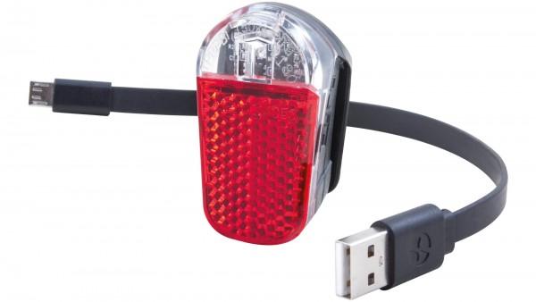 """SPANNINGA Akku-LED-Rücklicht """"Pyro""""; SB-verpackt, Sattelstützbefestigung, USB, mit deutschem Prüfzeichen ; 1 LED, Leuchtdauer: 10 Std., mit integriert"""