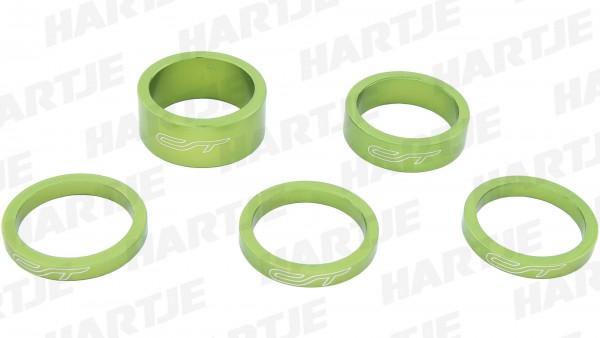 "CONTEC Spacer-Set ""Select""; SB-verpackt, mit 5 Aluminium Spacern, für 1 1/8""; 3x 5 mm, 1x 10 mm, 1x 15 mm, Guerilla green"