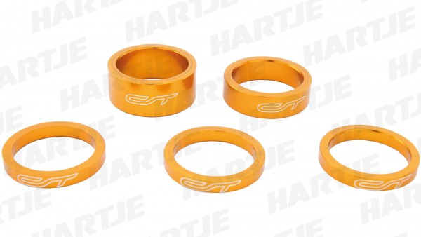 "CONTEC Spacer-Set ""Select""; SB-verpackt, mit 5 Aluminium Spacern, für 1 1/8""; 3x 5 mm, 1x 10 mm, 1x 15 mm, Odd orange"